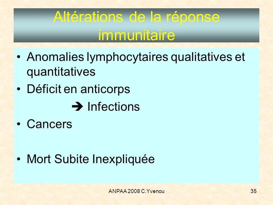 ANPAA 2008 C.Yvenou35 Altérations de la réponse immunitaire Anomalies lymphocytaires qualitatives et quantitatives Déficit en anticorps Infections Can