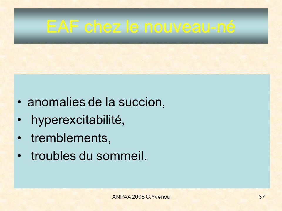 ANPAA 2008 C.Yvenou37 anomalies de la succion, hyperexcitabilité, tremblements, troubles du sommeil. EAF chez le nouveau-né