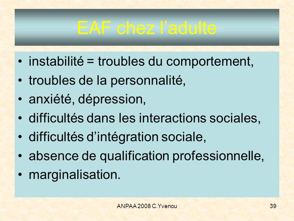 ANPAA 2008 C.Yvenou39 instabilité = troubles du comportement, troubles de la personnalité, anxiété, dépression, difficultés dans les interactions soci