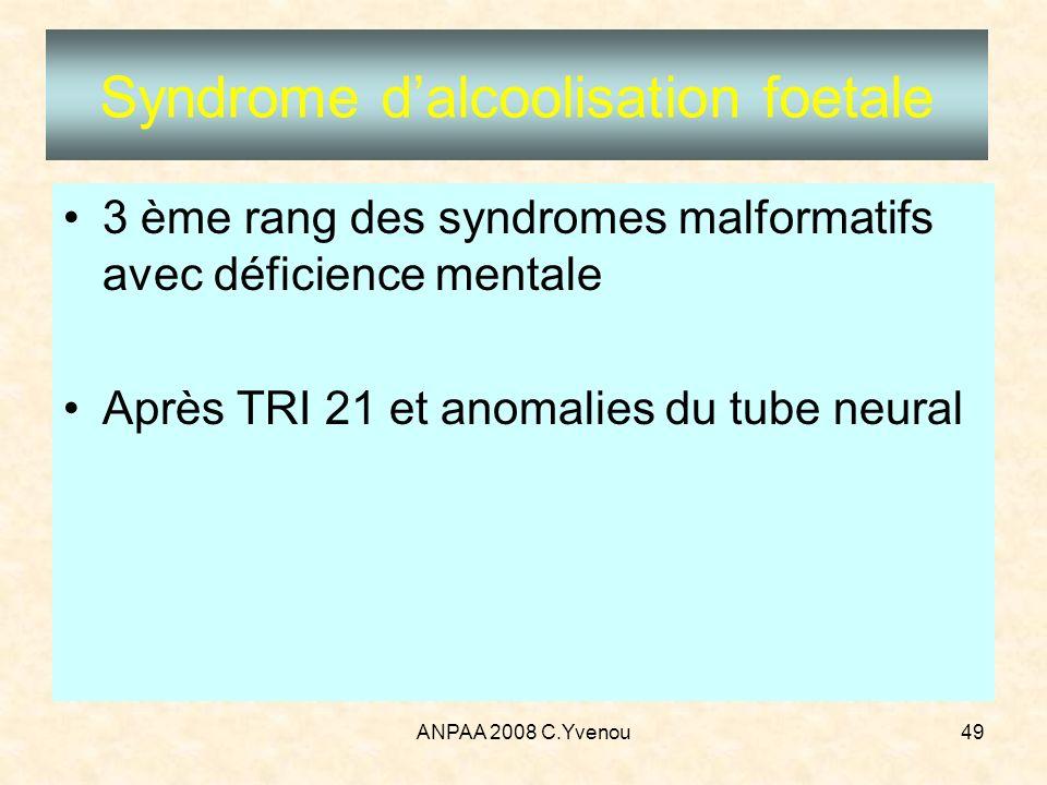 ANPAA 2008 C.Yvenou49 Syndrome dalcoolisation foetale 3 ème rang des syndromes malformatifs avec déficience mentale Après TRI 21 et anomalies du tube