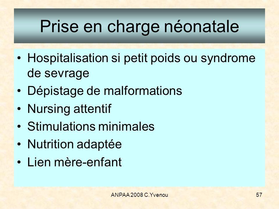 ANPAA 2008 C.Yvenou57 Prise en charge néonatale Hospitalisation si petit poids ou syndrome de sevrage Dépistage de malformations Nursing attentif Stim