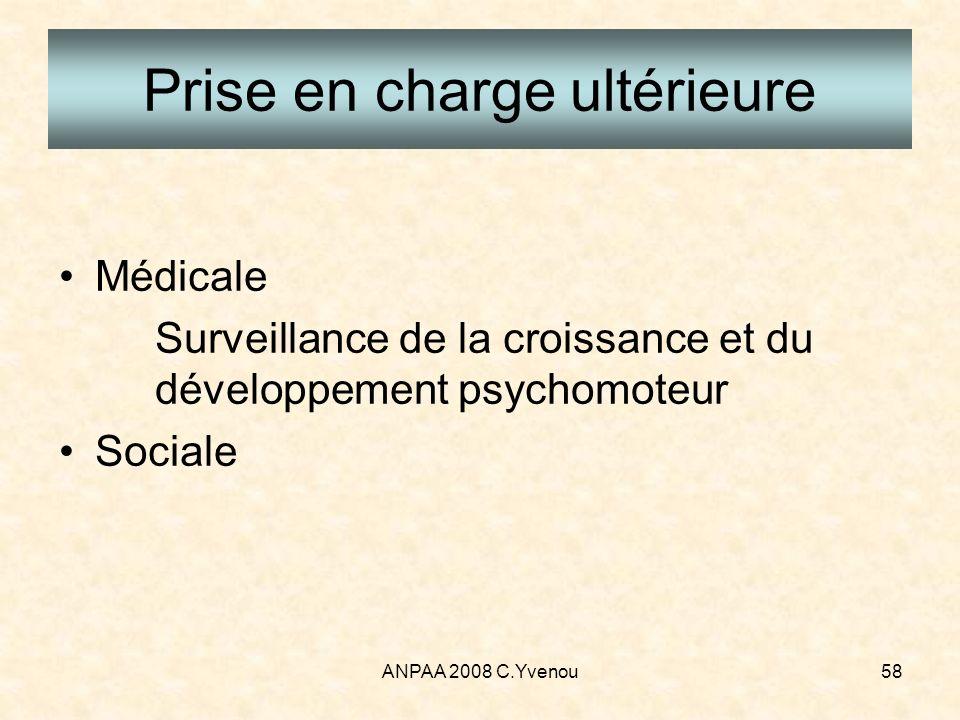 ANPAA 2008 C.Yvenou58 Prise en charge ultérieure Médicale Surveillance de la croissance et du développement psychomoteur Sociale