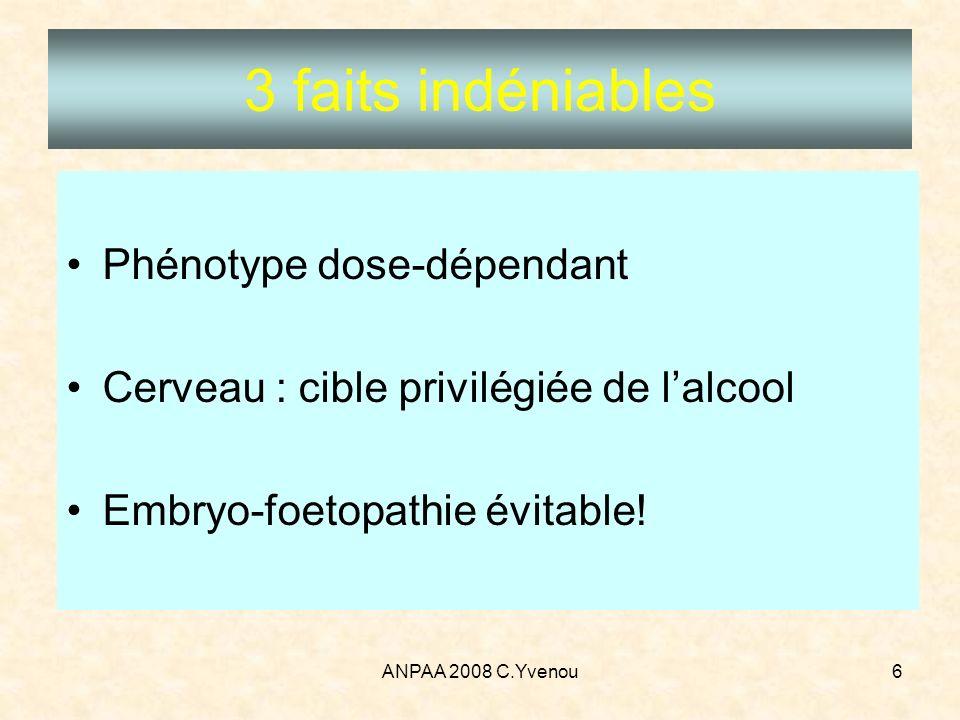 ANPAA 2008 C.Yvenou6 3 faits indéniables Phénotype dose-dépendant Cerveau : cible privilégiée de lalcool Embryo-foetopathie évitable!