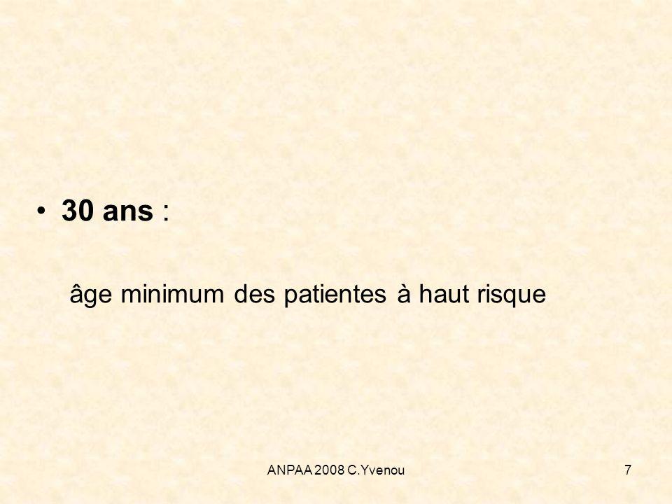 ANPAA 2008 C.Yvenou7 30 ans : âge minimum des patientes à haut risque