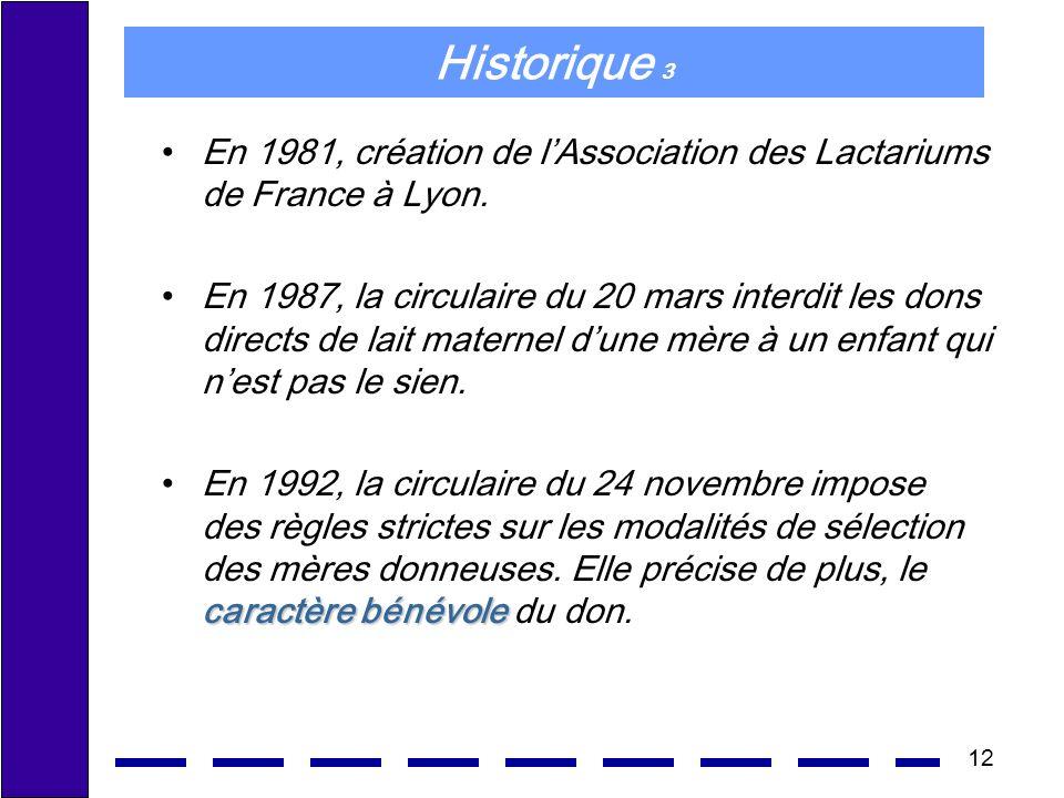 12 Historique 3 En 1981, création de lAssociation des Lactariums de France à Lyon. En 1987, la circulaire du 20 mars interdit les dons directs de lait