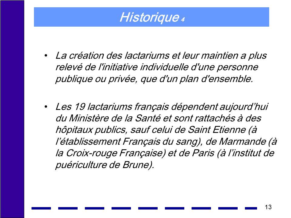13 Historique 4 La création des lactariums et leur maintien a plus relevé de l'initiative individuelle d'une personne publique ou privée, que d'un pla