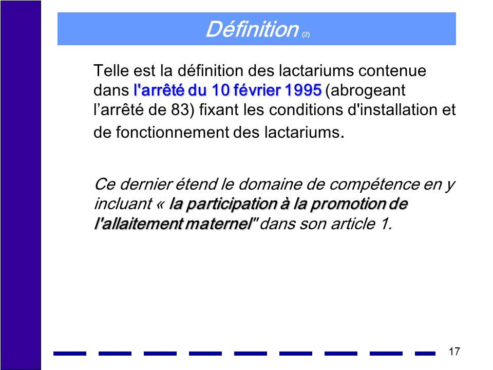 17 Définition (2) l'arrêté du 10 février 1995 Telle est la définition des lactariums contenue dans l'arrêté du 10 février 1995 (abrogeant larrêté de 8