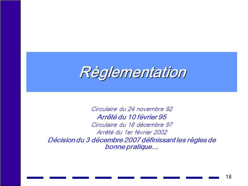 18 Règlementation Circulaire du 24 novembre 92 Arrêté du 10 février 95 Circulaire du 16 décembre 97 Arrêté du 1er février 2002 Décision du 3 décembre 2007 définissant les règles de bonne pratique…