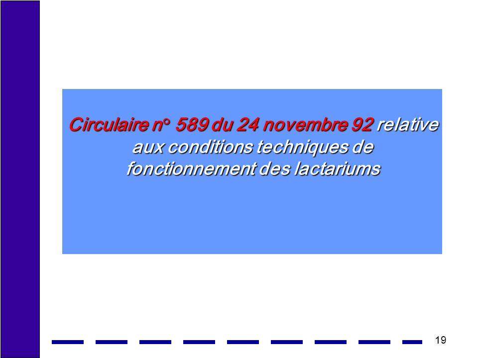 19 Circulaire n° 589 du 24 novembre 92 relative aux conditions techniques de fonctionnement des lactariums
