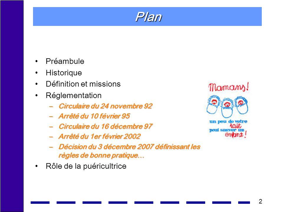 2 Plan Préambule Historique Définition et missions Réglementation –Circulaire du 24 novembre 92 –Arrêté du 10 février 95 –Circulaire du 16 décembre 97 –Arrêté du 1er février 2002 –Décision du 3 décembre 2007 définissant les règles de bonne pratique… Rôle de la puéricultrice
