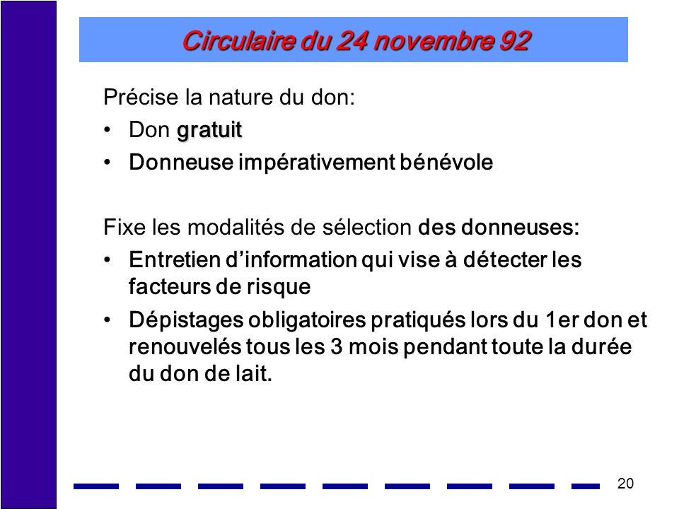 20 Circulaire du 24 novembre 92 Précise la nature du don: gratuitDon gratuit Donneuse impérativement bénévole Fixe les modalités de sélection des donn