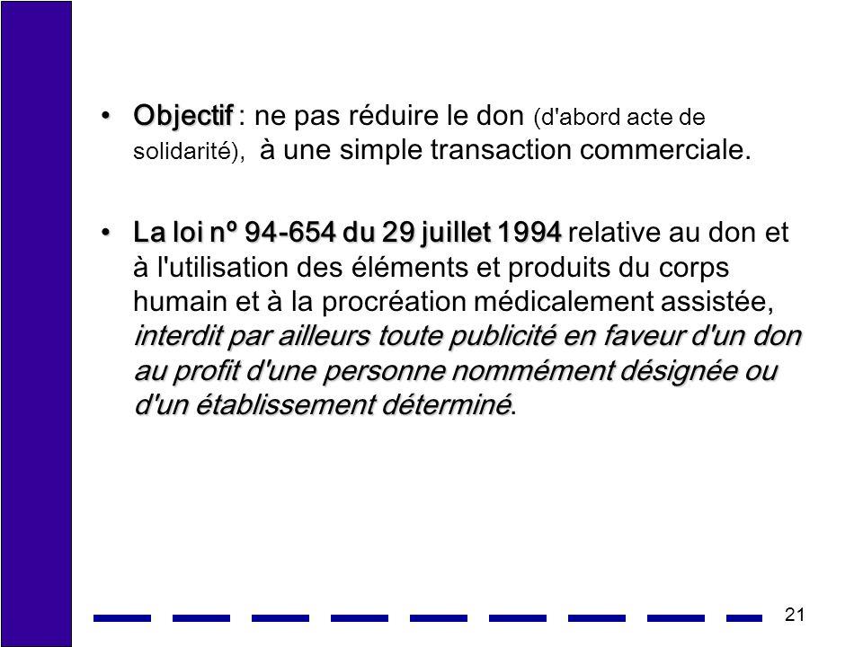 21 ObjectifObjectif : ne pas réduire le don (d'abord acte de solidarité), à une simple transaction commerciale. La loi nº 94-654 du 29 juillet 1994 in