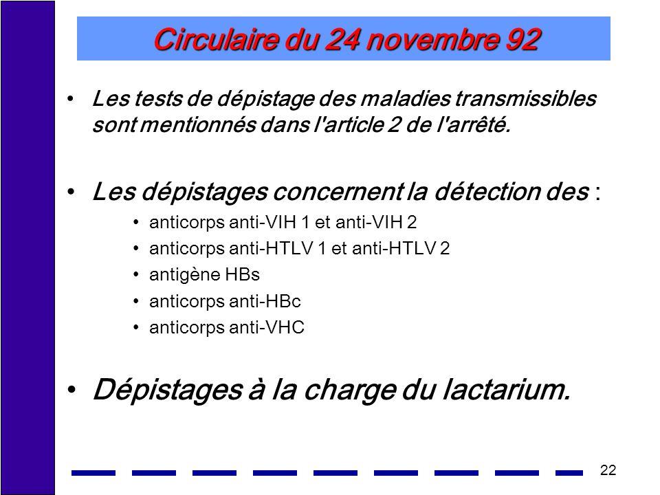 22 Circulaire du 24 novembre 92 Les tests de dépistage des maladies transmissibles sont mentionnés dans l'article 2 de l'arrêté. Les dépistages concer