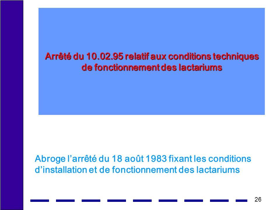 26 Arrêté du 10.02.95 relatif aux conditions techniques de fonctionnement des lactariums Abroge larrêté du 18 août 1983 fixant les conditions dinstallation et de fonctionnement des lactariums