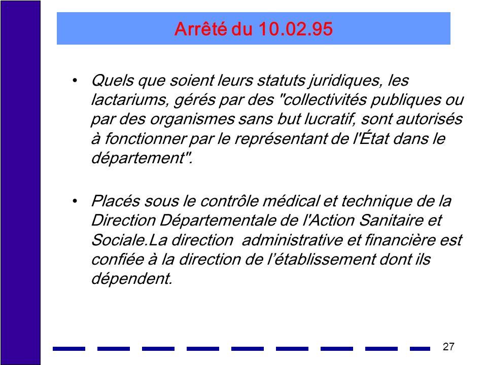 27 Arrêté du 10.02.95 Quels que soient leurs statuts juridiques, les lactariums, gérés par des