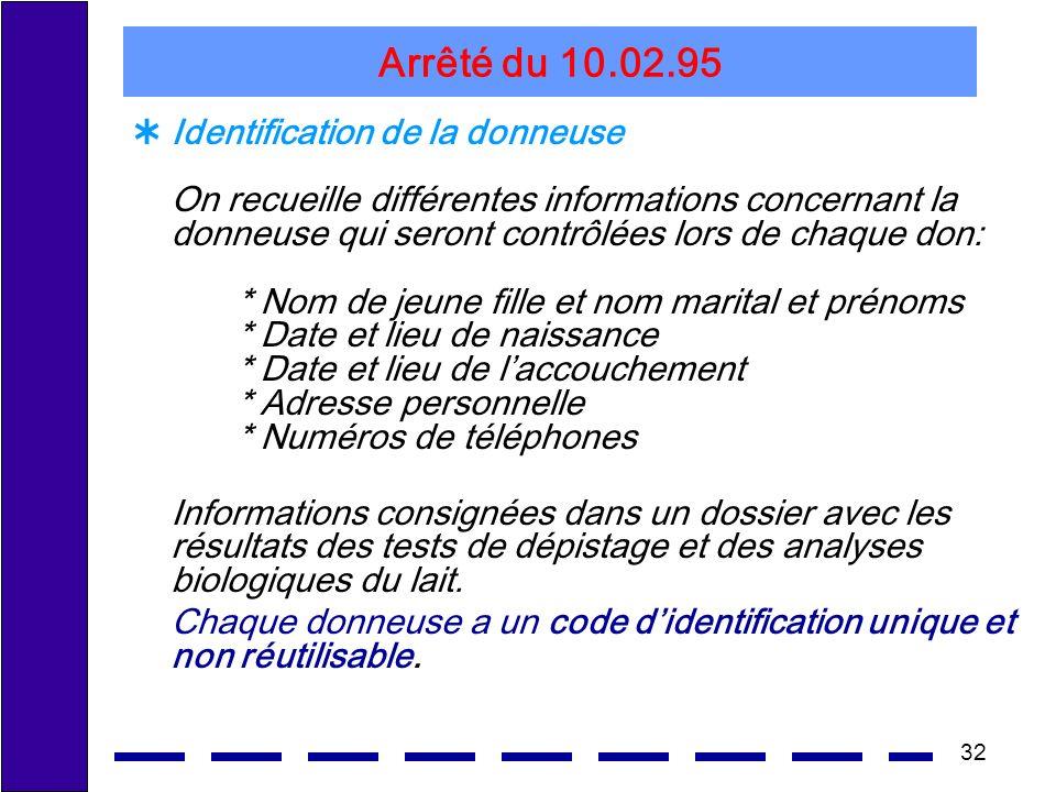 32 Arrêté du 10.02.95 Identification de la donneuse On recueille différentes informations concernant la donneuse qui seront contrôlées lors de chaque