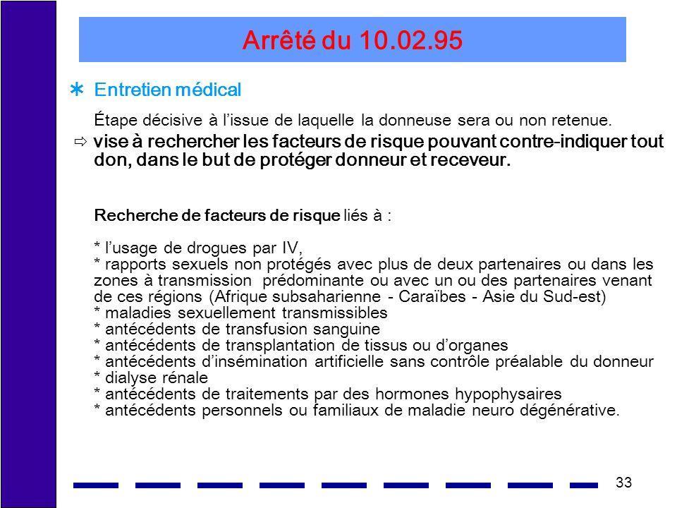 33 Arrêté du 10.02.95 Entretien médical Étape décisive à lissue de laquelle la donneuse sera ou non retenue. vise à rechercher les facteurs de risque