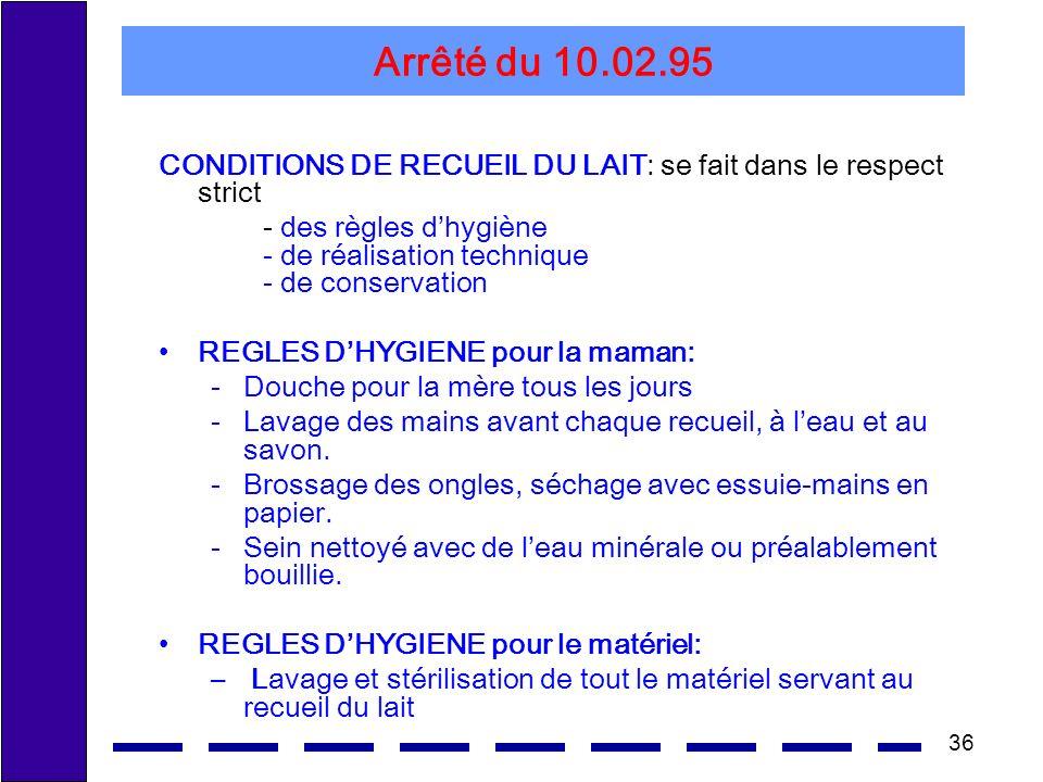 36 Arrêté du 10.02.95 CONDITIONS DE RECUEIL DU LAIT: se fait dans le respect strict - des règles dhygiène - de réalisation technique - de conservation