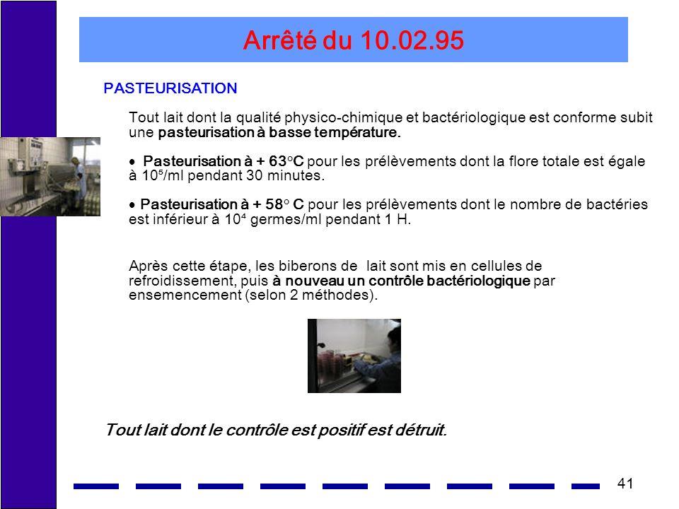 41 Arrêté du 10.02.95 PASTEURISATION Tout lait dont la qualité physico-chimique et bactériologique est conforme subit une pasteurisation à basse température.