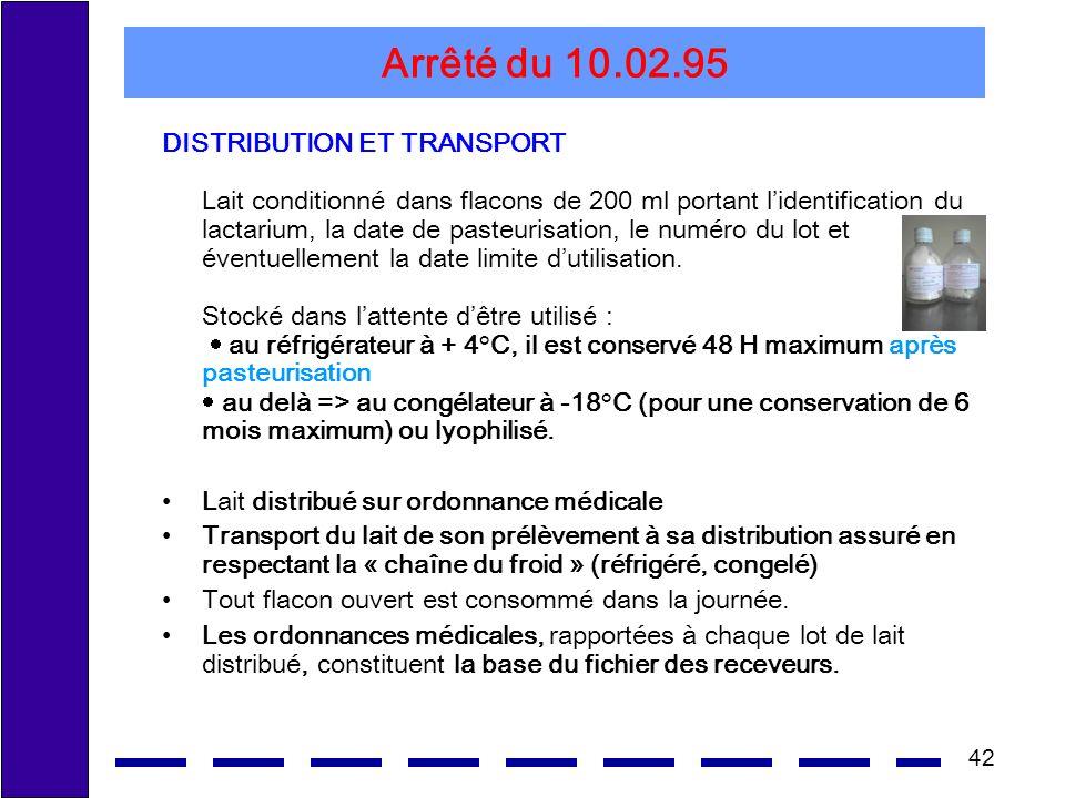42 Arrêté du 10.02.95 DISTRIBUTION ET TRANSPORT Lait conditionné dans flacons de 200 ml portant lidentification du lactarium, la date de pasteurisatio