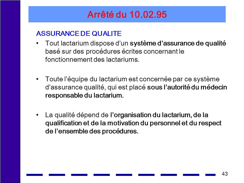 43 Arrêté du 10.02.95 ASSURANCE DE QUALITE Tout lactarium dispose dun système dassurance de qualité basé sur des procédures écrites concernant le fonctionnement des lactariums.