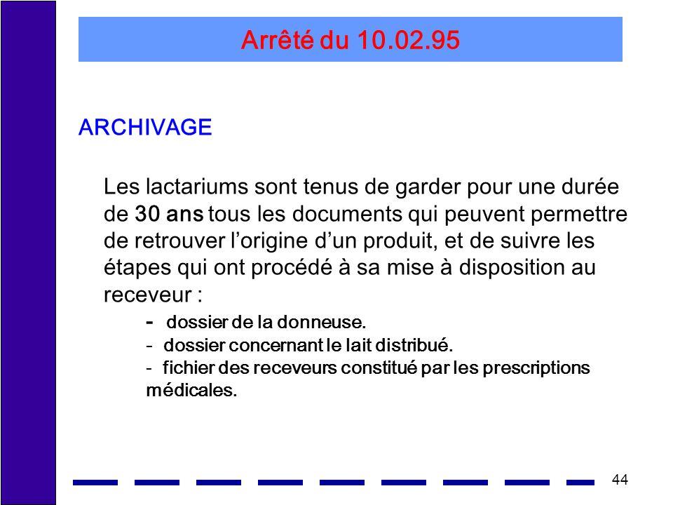 44 Arrêté du 10.02.95 ARCHIVAGE Les lactariums sont tenus de garder pour une durée de 30 ans tous les documents qui peuvent permettre de retrouver lorigine dun produit, et de suivre les étapes qui ont procédé à sa mise à disposition au receveur : - dossier de la donneuse.