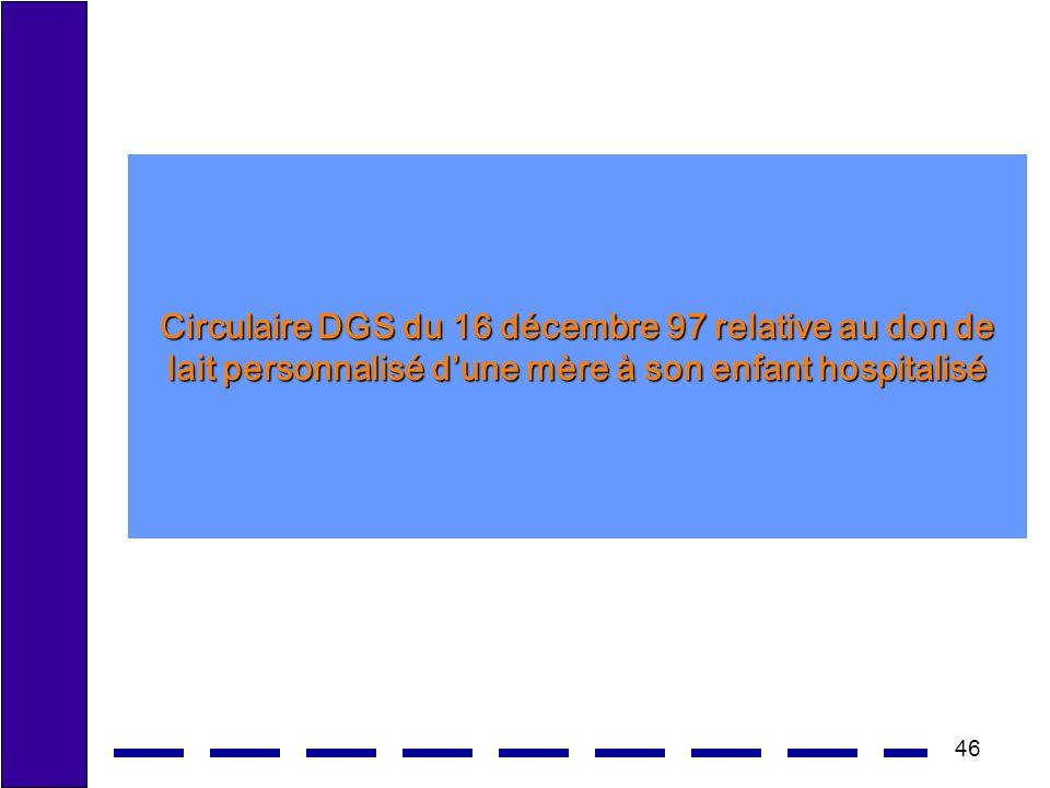 46 Circulaire DGS du 16 décembre 97 relative au don de lait personnalisé dune mère à son enfant hospitalisé