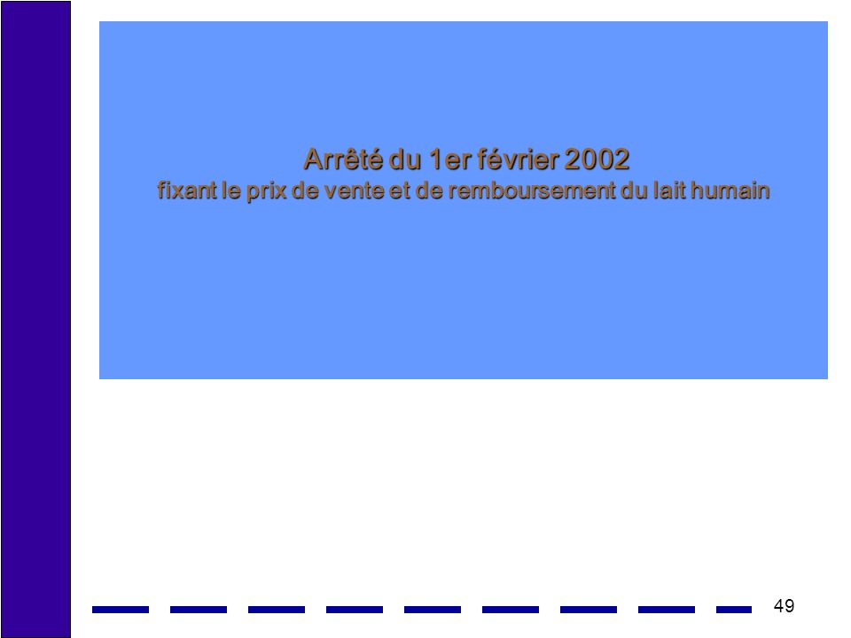 49 Arrêté du 1er février 2002 fixant le prix de vente et de remboursementdu lait humain Arrêté du 1er février 2002 fixant le prix de vente et de remboursement du lait humain