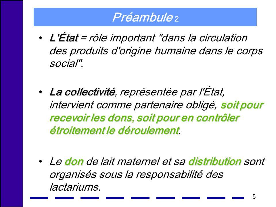 5 Préambule 2 L ÉtatL État = rôle important dans la circulation des produits d origine humaine dans le corps social .