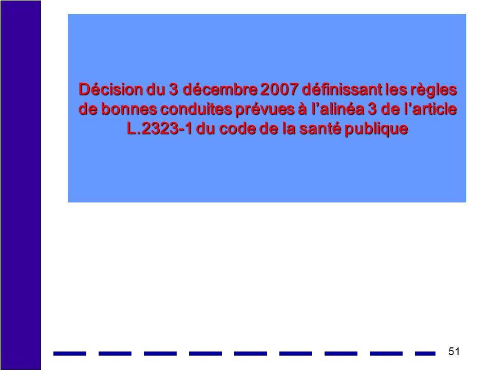 51 Décision du 3 décembre 2007 définissant les règles de bonnes conduites prévues à lalinéa 3 de larticle L.2323-1 du code de la santé publique