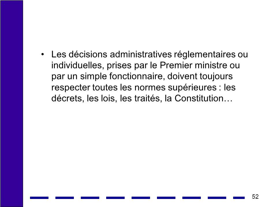 52 Les décisions administratives réglementaires ou individuelles, prises par le Premier ministre ou par un simple fonctionnaire, doivent toujours respecter toutes les normes supérieures : les décrets, les lois, les traités, la Constitution…