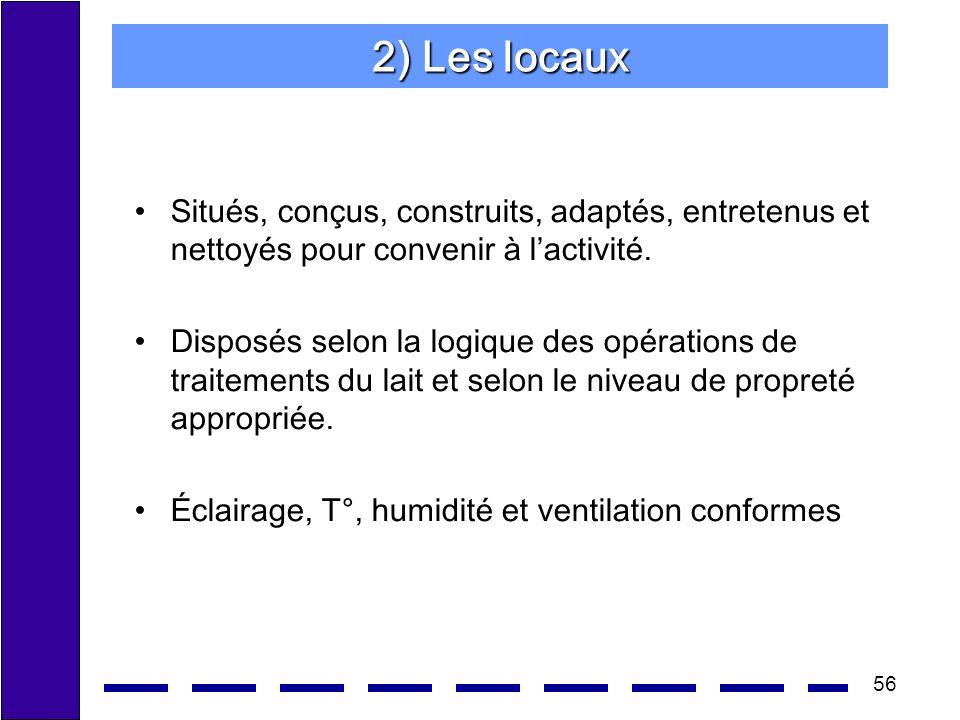 56 2) Les locaux Situés, conçus, construits, adaptés, entretenus et nettoyés pour convenir à lactivité. Disposés selon la logique des opérations de tr