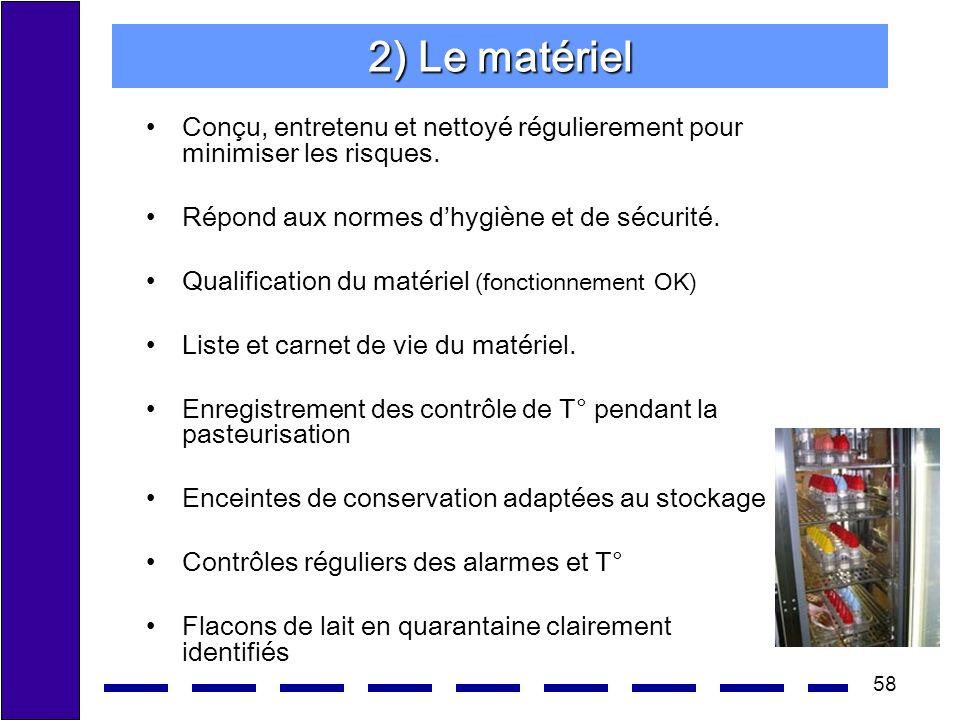 58 2) Le matériel Conçu, entretenu et nettoyé régulierement pour minimiser les risques. Répond aux normes dhygiène et de sécurité. Qualification du ma