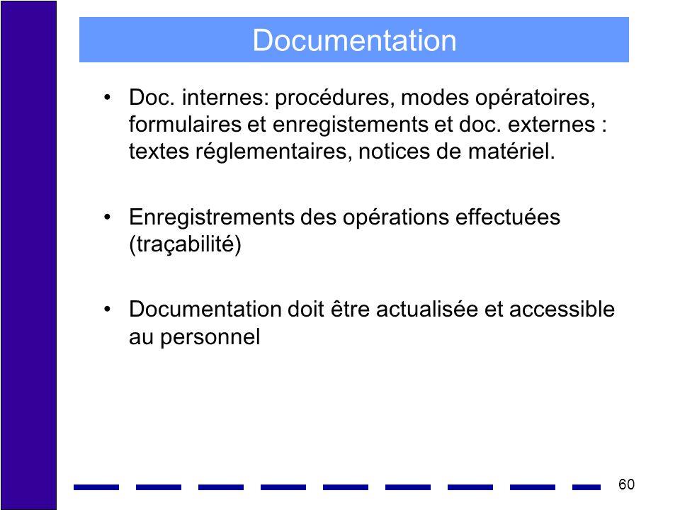 60 Documentation Doc. internes: procédures, modes opératoires, formulaires et enregistements et doc. externes : textes réglementaires, notices de maté