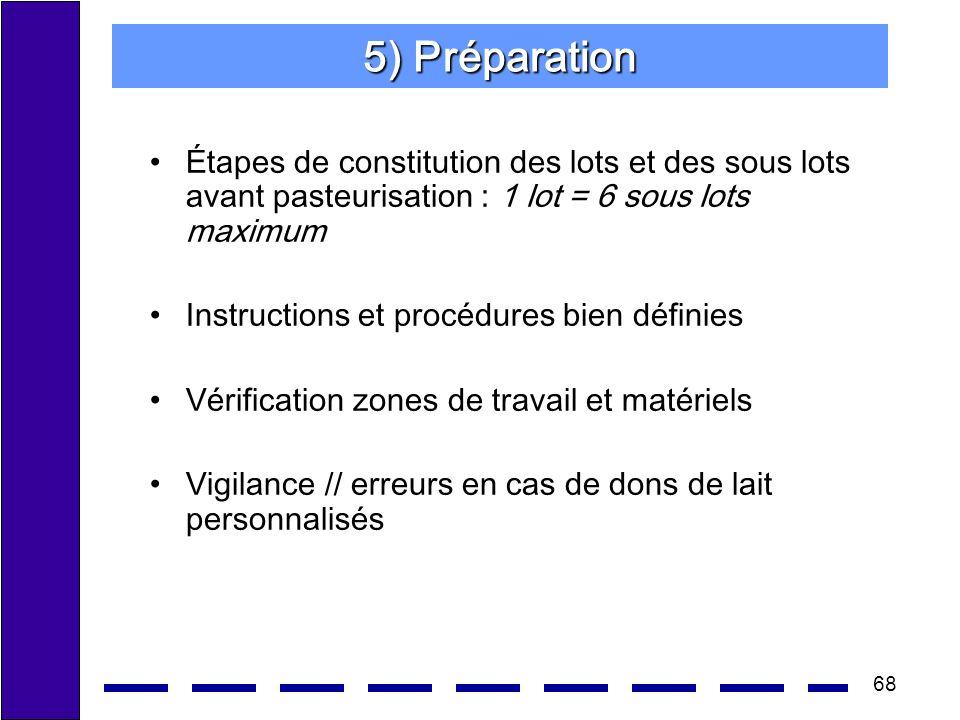 68 5) Préparation Étapes de constitution des lots et des sous lots avant pasteurisation : 1 lot = 6 sous lots maximum Instructions et procédures bien