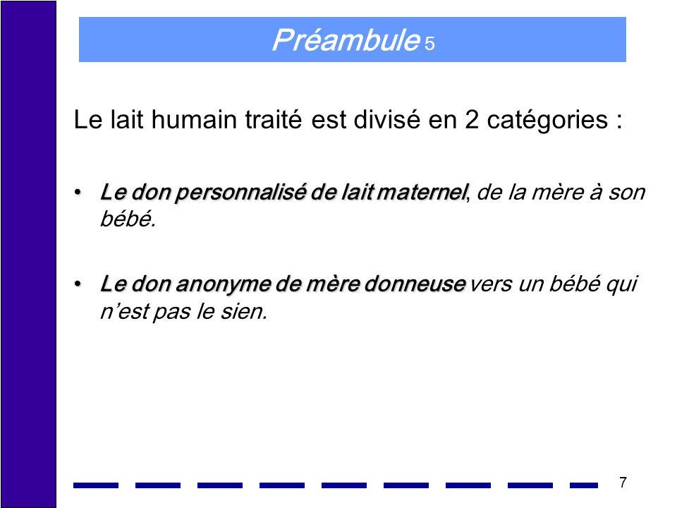 7 Préambule 5 Le lait humain traité est divisé en 2 catégories : Le don personnalisé de lait maternelLe don personnalisé de lait maternel, de la mère