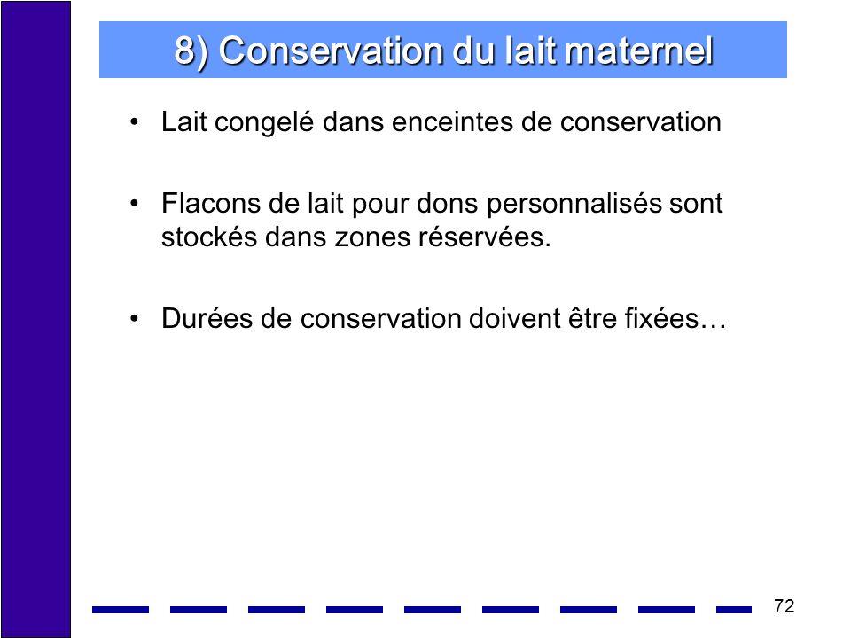 72 8) Conservation du lait maternel Lait congelé dans enceintes de conservation Flacons de lait pour dons personnalisés sont stockés dans zones réservées.