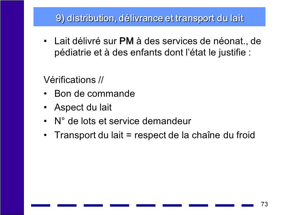 73 9) distribution, délivrance et transport du lait PMLait délivré sur PM à des services de néonat., de pédiatrie et à des enfants dont létat le justi