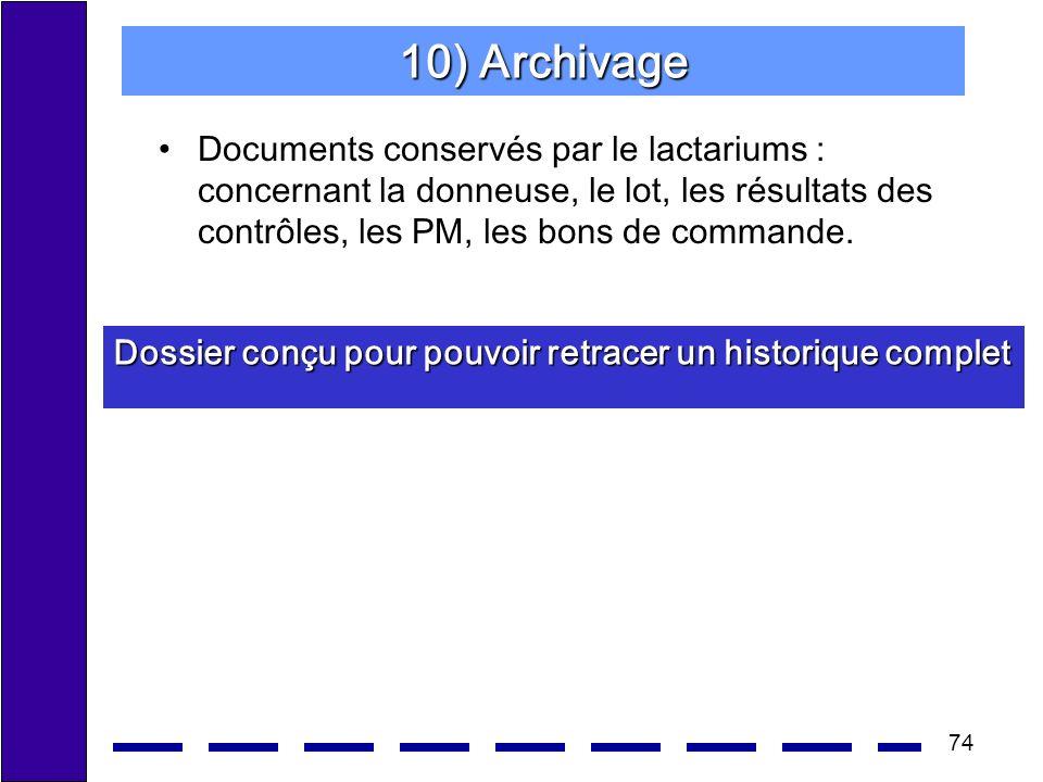 74 10) Archivage Documents conservés par le lactariums : concernant la donneuse, le lot, les résultats des contrôles, les PM, les bons de commande. Do