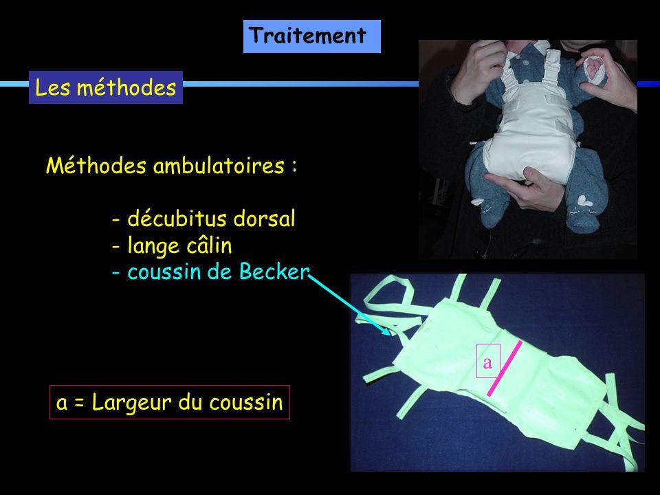 Traitement Méthodes ambulatoires : - décubitus dorsal - lange câlin - coussin de Becker Les méthodes a = Largeur du coussin a
