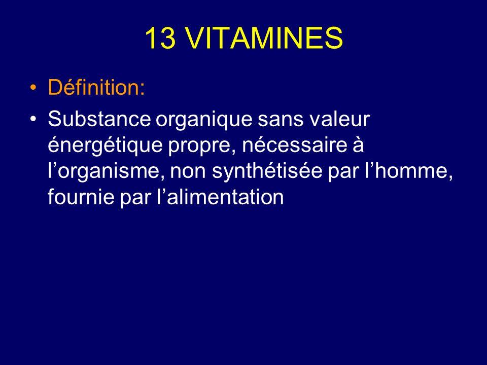 13 VITAMINES Définition: Substance organique sans valeur énergétique propre, nécessaire à lorganisme, non synthétisée par lhomme, fournie par laliment