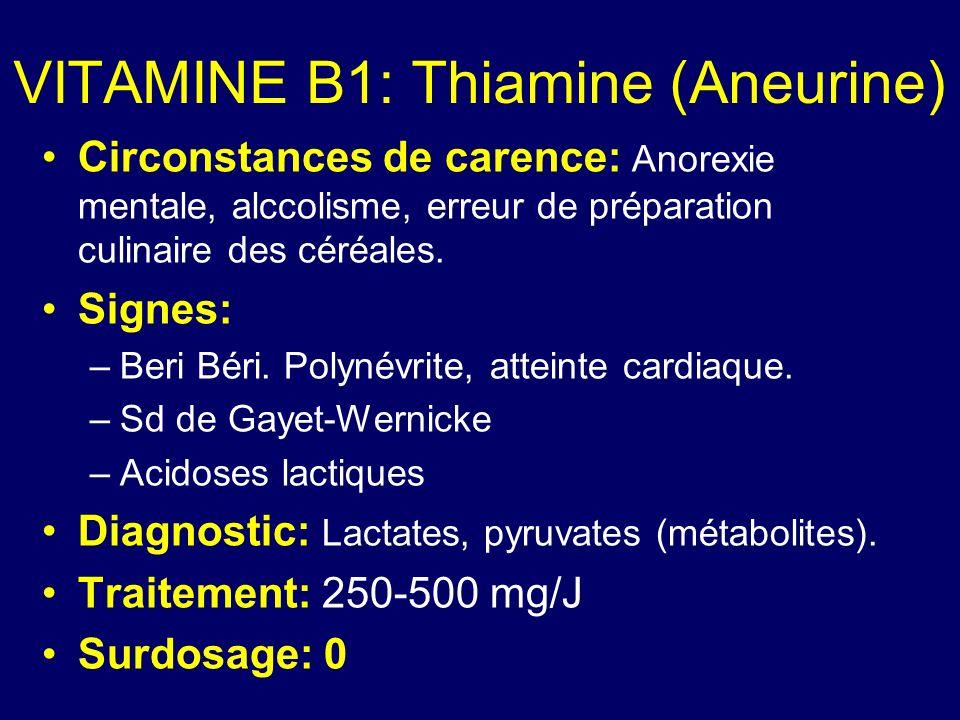 VITAMINE B1: Thiamine (Aneurine) Circonstances de carence: Anorexie mentale, alccolisme, erreur de préparation culinaire des céréales. Signes: –Beri B