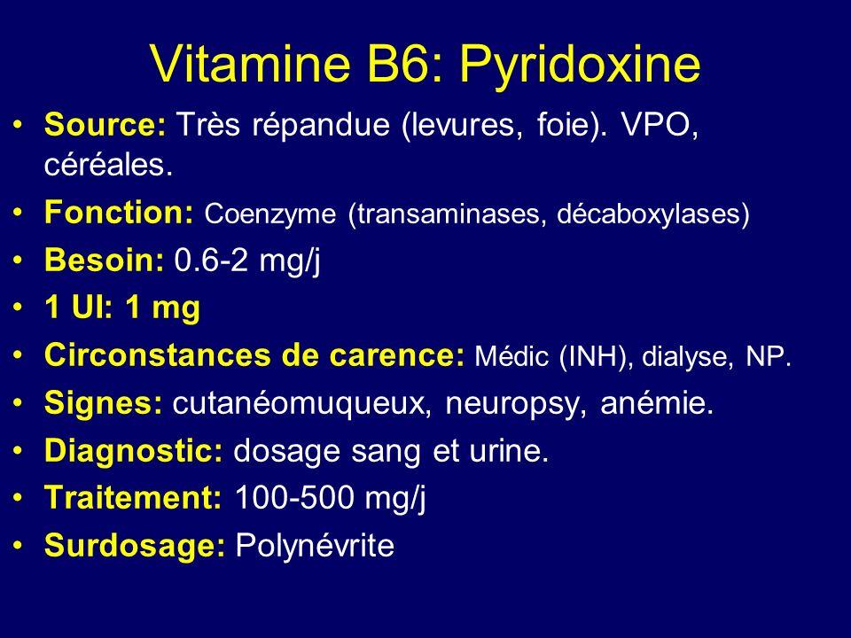 Vitamine B6: Pyridoxine Source: Très répandue (levures, foie). VPO, céréales. Fonction: Coenzyme (transaminases, décaboxylases) Besoin: 0.6-2 mg/j 1 U
