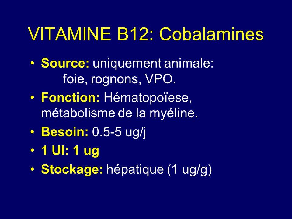 VITAMINE B12: Cobalamines Source: uniquement animale: foie, rognons, VPO. Fonction: Hématopoïese, métabolisme de la myéline. Besoin: 0.5-5 ug/j 1 UI: