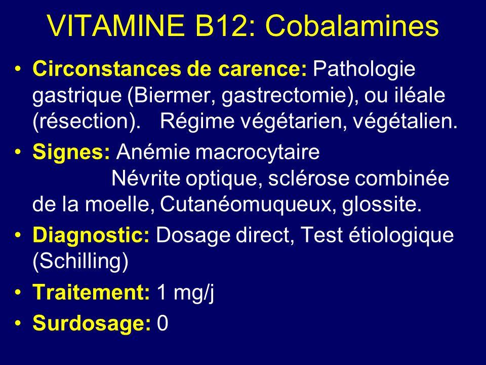 VITAMINE B12: Cobalamines Circonstances de carence: Pathologie gastrique (Biermer, gastrectomie), ou iléale (résection).Régime végétarien, végétalien.
