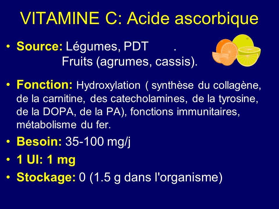VITAMINE C: Acide ascorbique Source: Légumes, PDT. Fruits (agrumes, cassis). Fonction: Hydroxylation ( synthèse du collagène, de la carnitine, des cat