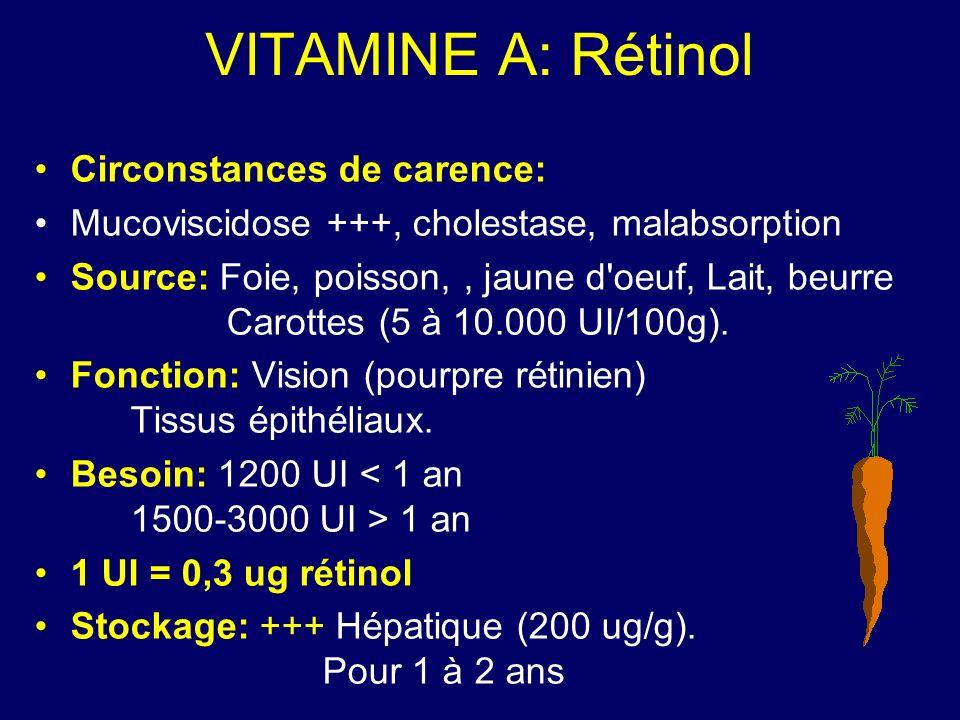 VITAMINE A: Rétinol Signes: Héméralopie, kératomalacie, xérophtalmie, cécité (500.000 cas/an).