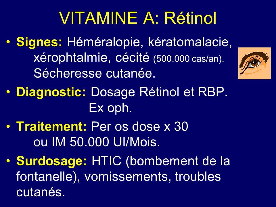 VITAMINE A: Rétinol Signes: Héméralopie, kératomalacie, xérophtalmie, cécité (500.000 cas/an). Sécheresse cutanée. Diagnostic: Dosage Rétinol et RBP.