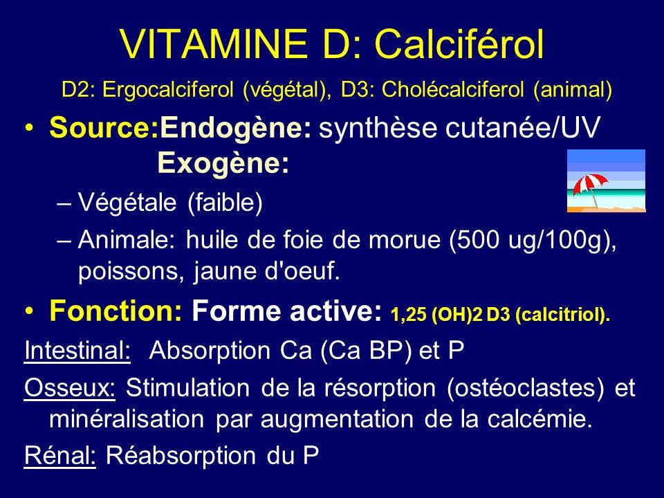 VITAMINE D: Calciférol D2: Ergocalciferol (végétal), D3: Cholécalciferol (animal) Source:Endogène: synthèse cutanée/UV Exogène: –Végétale (faible) –An