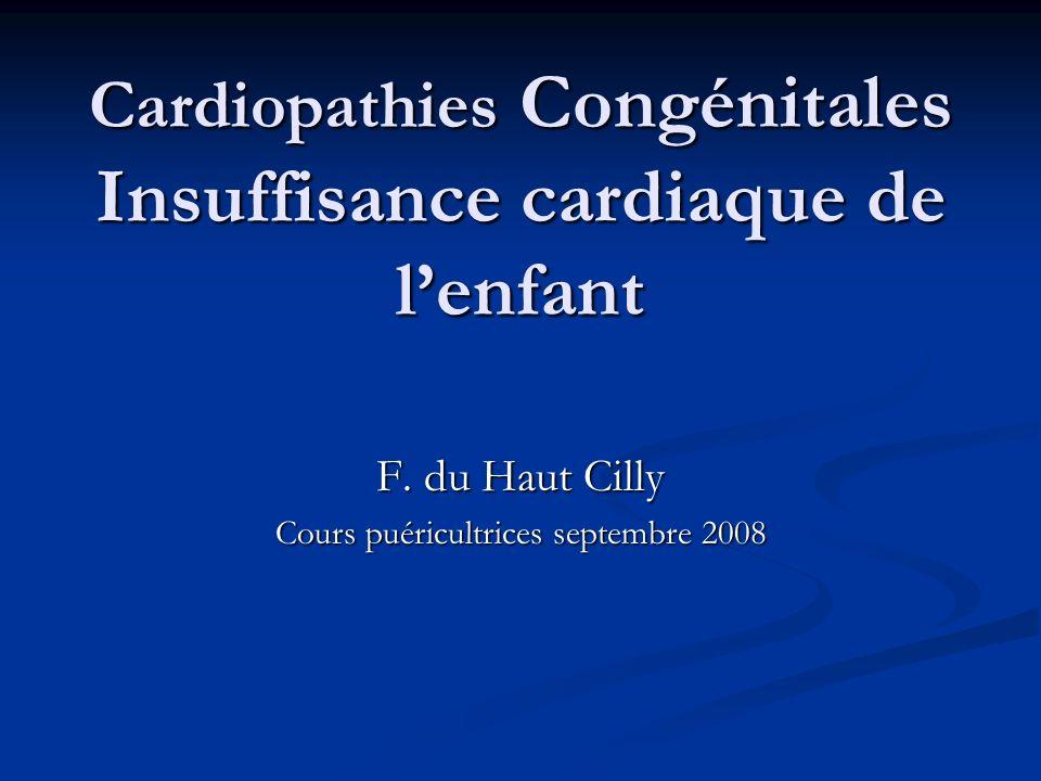 Cardiopathies Congénitales Insuffisance cardiaque de lenfant F. du Haut Cilly Cours puéricultrices septembre 2008